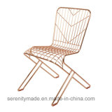 Modern Golden Stainless Steel Arrow Pattern Wire Dining Chair