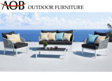 Contemporary Outdoor Garden Rope Woven Furniture Poolside Leisure Living Sofa Set with Cushion
