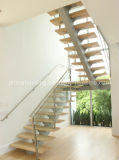 Interior Glass Wood Stairs U Shape Stair Case