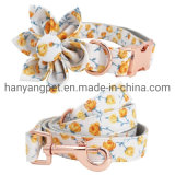 Custom Logo Print Pattern Pet Products Flower Bowtie Dog Collars