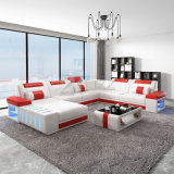 American Hot Top Grain Genuine Leather Sectional Leisure Sofa Furniture