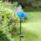 Unique Novelty Solar Power Peacock Glass Metal Garden Crackle Ball Stake Lights