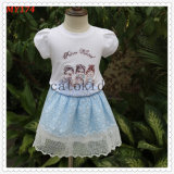 Knit Tops Tulle Bottom Casual Style Lovely Cute Little Girls Dress for Summer