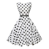 06 White Black DOT Ladies Daily Fashion Prom Birthday Party Dress