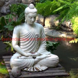 Garden Decoration Pure White Stone Marble Sitting Buddha Statue for Wholesale Mbsd-01