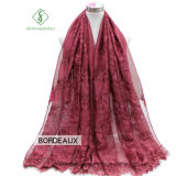 Newest Design Lady Fashion Silk Scarf with Embroider Lace