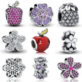 925 Sterling Silver Flowers Charms Fit Bracelet Necklace Original Bead Jewelry DIY Fashion Woman