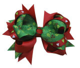 Christmas Tree Printing Grosgrain Ribbon Hair Clip Hair Bow