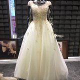 Gold Beaded Floor Length Evening Dress Bridal Wedding Gown
