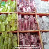 Mgogems Wholesale Apple Green/Pink White Colour Rough CZ Cubic Zirconia Raw Material at Factory Price