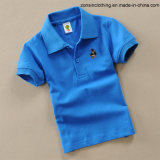 Pure Color with Logo Short Sleeve Children Polo T-Shirt