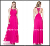 Fuchsia Chiffon Party Prom Gowns Cocktail Custom Beading Evening Dresses P2415