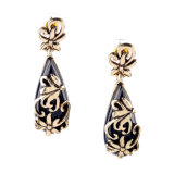 Exquisite Elegant Inlaid Diamond Engraved Flower Earrings Water Drop Design Pendant Fashion Jewelry