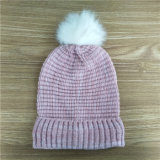 fashion Pink Knit Polar Fleece Hat with Crystal POM