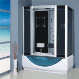 Grey Glass Rectangular Cabin Shower with Sliding Door Tub