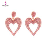 New Elegant Inlaid Rhinestone Lovely Heart-Shaped Alloy Women′s Earrings