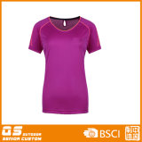 Lady′s Sports Short Sleeve Outdoor Pink T-Shirt