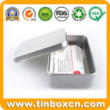 Rectangle Name Card Tin Box with Plain Silver Printing