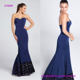 Sweetheart Neckline and Princess Seams Strapless Satin Mermaid Eveing Gown with Laser-Cut Velvet Border at Hem