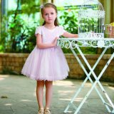 Flower Girl Dress Tutu Girls Dress Shirt with Cap Sleeve
