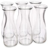 Glass Carafe Beverage Bottles, 6-Pack - Water Pitchers, Wine Decanters, Mixed Drinks, Mimosas, Centerpieces, Arts & Crafts - Restaurant, Catering, Party, Home K