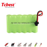 AA 7.2V 3000mAh Ni Mh Rechargeable Battery Pack
