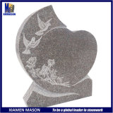 European Design Bird Flower Carving Natural Granite Tombstone Slab with Heart Shape