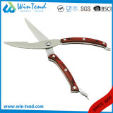 Wholesale Stainless Steel Kitchen Poultry Scissors with Locked Pakka Wood Handle