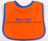 Factory Produce Custom Logo Embroidered Orange Cotton Terry Absorbent Baby Shoulder Bib