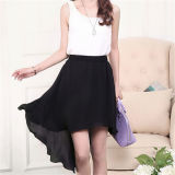 Summer Women Irregular Black Chiffon Dovetail Skirts (14278)