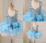 Blue Beaded Organza Ball Bay Girl Dresses
