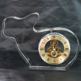 Rabbit Shape Crystal Glass Gold Clock Gifts for Kids Room