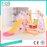 Cheap Indoor Plastic Slide and Swing Set with Food Table (HBS17006D)