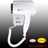 Hotel Supply Bathroom Use Professional Wall Mounted Hair Dryer with Shaver Socket