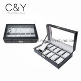 12 Slot Black Watch Box Leather Display Case Box
