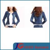 New Style Women Crewneck Short Sleeve Jean Denim Clothing (JC4058)
