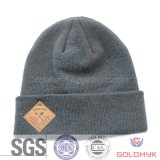 Rubber Patched Embroidery Beanie Hat in Acrylic