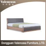 Home Furniture Solid Wood Bed with Leather for Bedroom