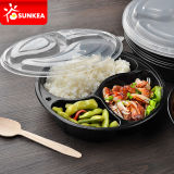 Disposable Black Plastic Food Container with 3 Compartments