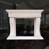 Great Marble Fireplace in Fine Hand-Carved Floral Design Quality