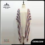 Women Fashion Boho Knitted Striped Fringe Poncho Shirt
