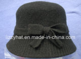 Fashion Knitted Wool Hat with Bow for Ladies Black Hat