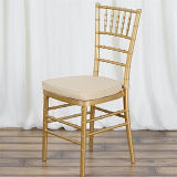 2018 Metal Gold Banquet Chiavari Chair Garden Tiffany Chair with White Cushion