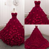 Wine Red Sweetheart Ball Gown Tulle Wedding Dresses