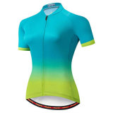 Women Summer Polyester Patterned Upf Short Sleeve Breathable Sport Cycling Apparel