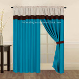 100% Polyester Microfiber Window Set with Lining Rod-Pocket Curtain Panel