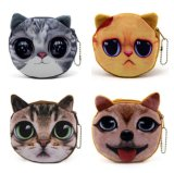 Adorable 3D Cat and Dog Face Plush Coin Purse, Coin Purses Wallet Cute Cat Handbag