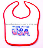 Factory Produce Custom Design Embroidered Cotton Terry Baby Disposable Bib