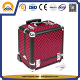 New Fashion Red Makeup Trolly Case with Dividers and Lock (HB-6413)