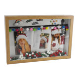 Christmas Gift Wooden Clip Pampon Photo Frame Wall Hanging Christmas Picture